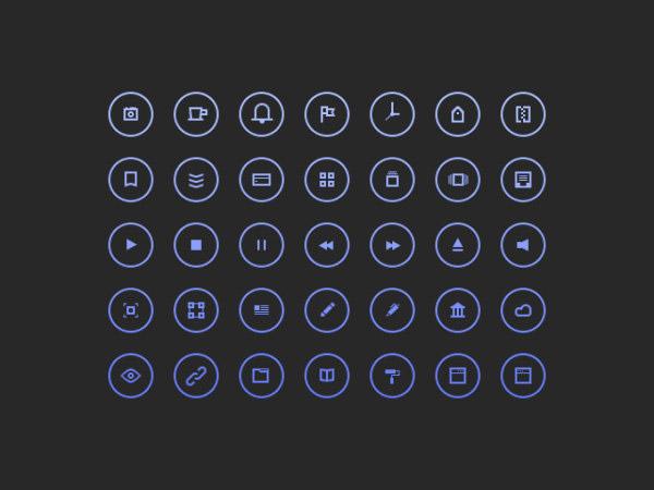 图标所需点数: 0 点 关键词: 圆形图标,相机,播放,暂停,笔,时钟,icon图片