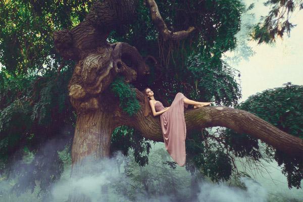 树上的美女图片