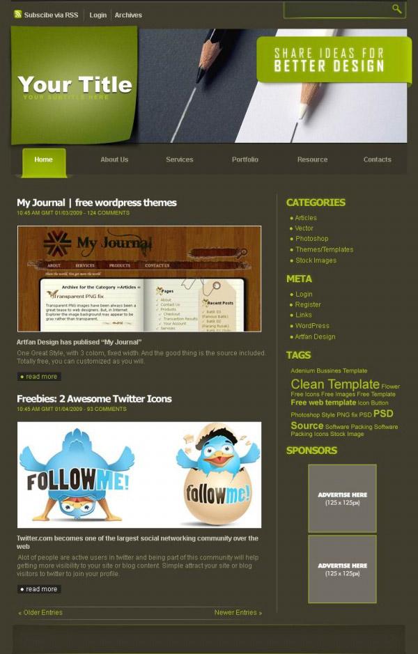 网页模板网站模板英文网站卡通动画铅笔psd素材下载
