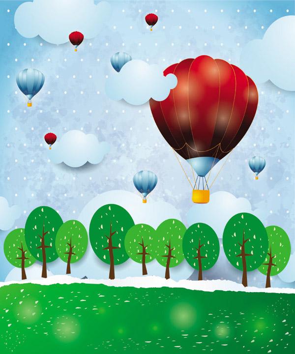 卡通背景,满月宴,卡通,儿童,童话,树木,热气球,可爱,彩绘,psd素材免费