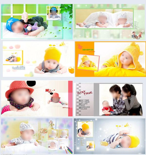 关键词: 可受儿童相册模板psd分层素材,婴儿写真,可爱宝贝,儿童相册