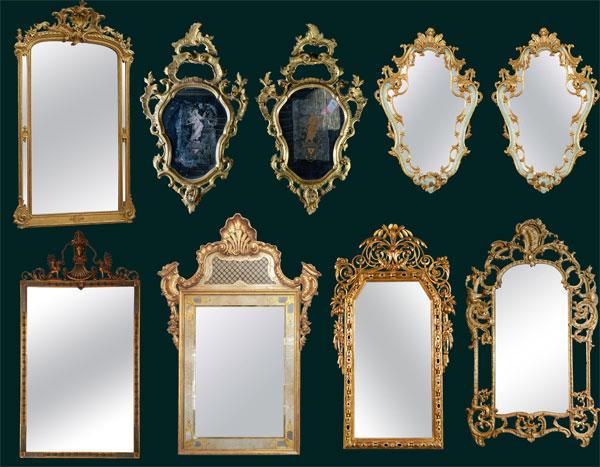 欧式镜子镜框油画边框psd素材免费