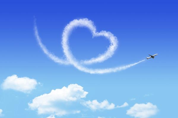 爱情图片,爱情,飞机,天空,爱心,云彩,白云,唯美,心形,蓝天,创意,psd