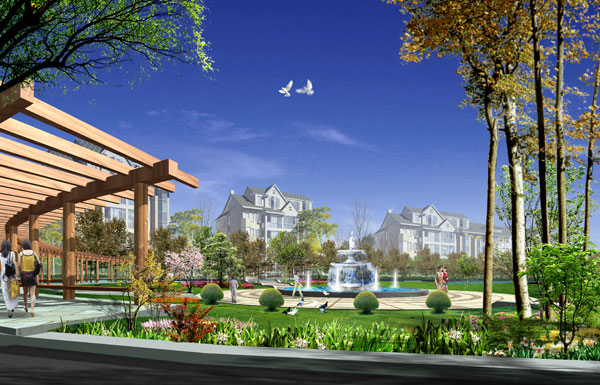 小区喷泉景观广场手绘