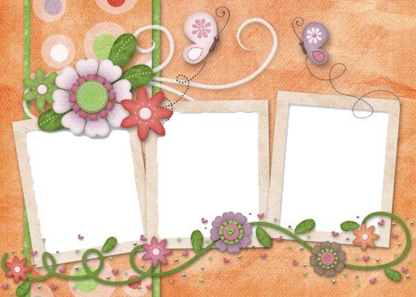 可爱卡通小花宝宝相册模板psd素材下载,宝宝相册,相册模板,相册,可爱