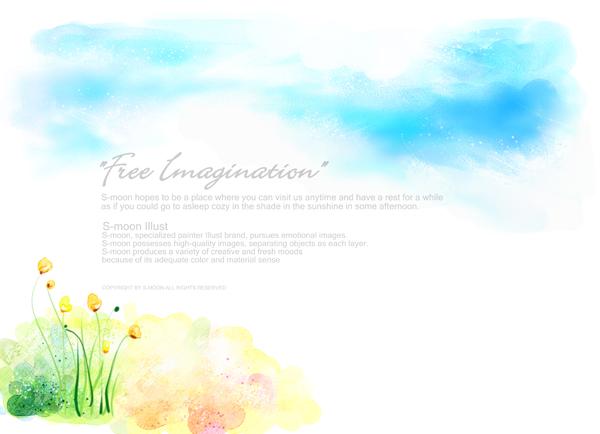 插画cg所需点数: 0 点 关键词: 水彩画天空花朵psd素材,蓝色天空,水墨