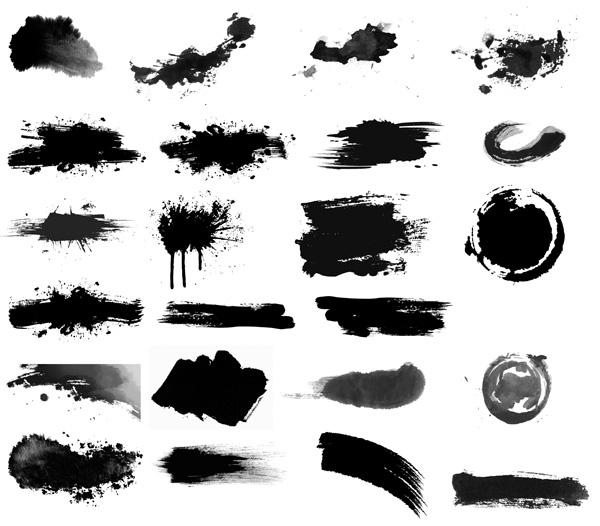 黑白水墨矢量图