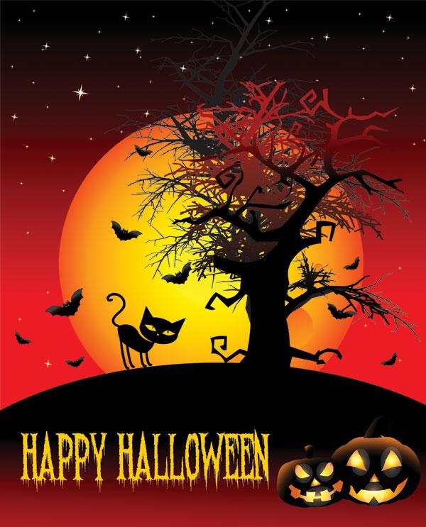 万圣节海报,万圣节,快乐,南瓜头,猫咪,阴森,恐怖,蝙蝠,月亮,树枝,85