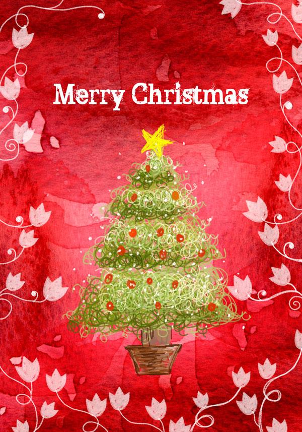 手绘圣诞节贺卡