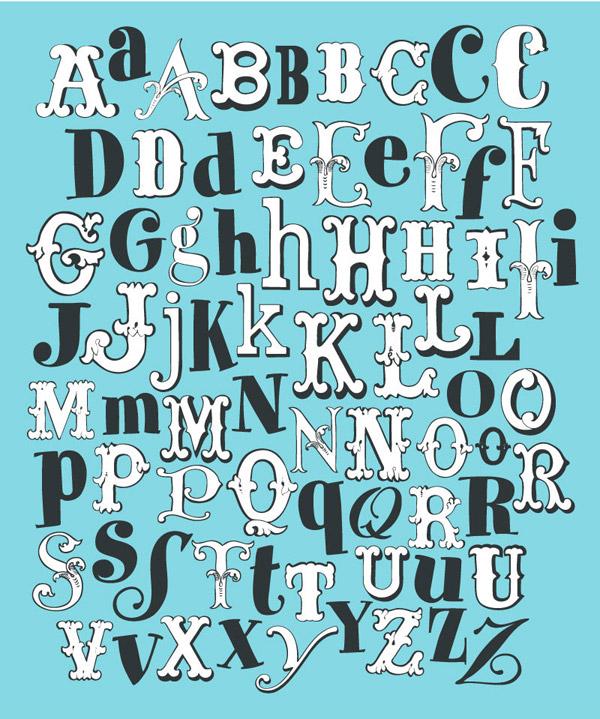 矢量藝術字所需點數: 0 點 關鍵詞: 復古英文字母設計矢量素材,字母