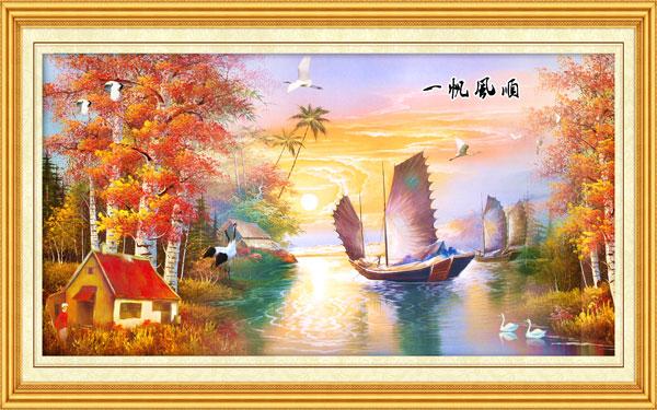 一帆风顺,装饰画,油画,室内,装饰,帆船,风景,小湖,树林,风景,psd素材