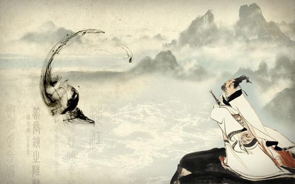 中国风手绘简笔画人物山水