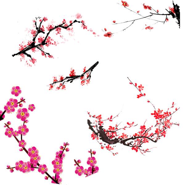 水墨梅花,中国元素,中国风素材