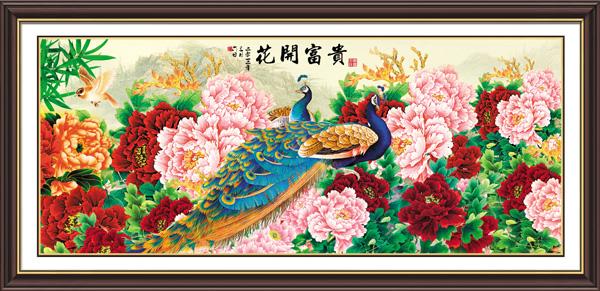 孔雀,牡丹花,艺术绣花