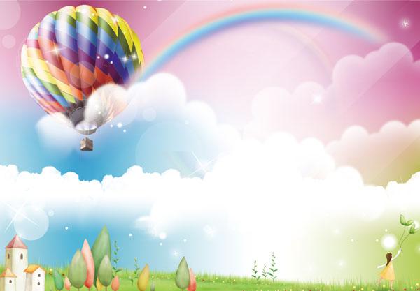彩虹热气球卡通图片