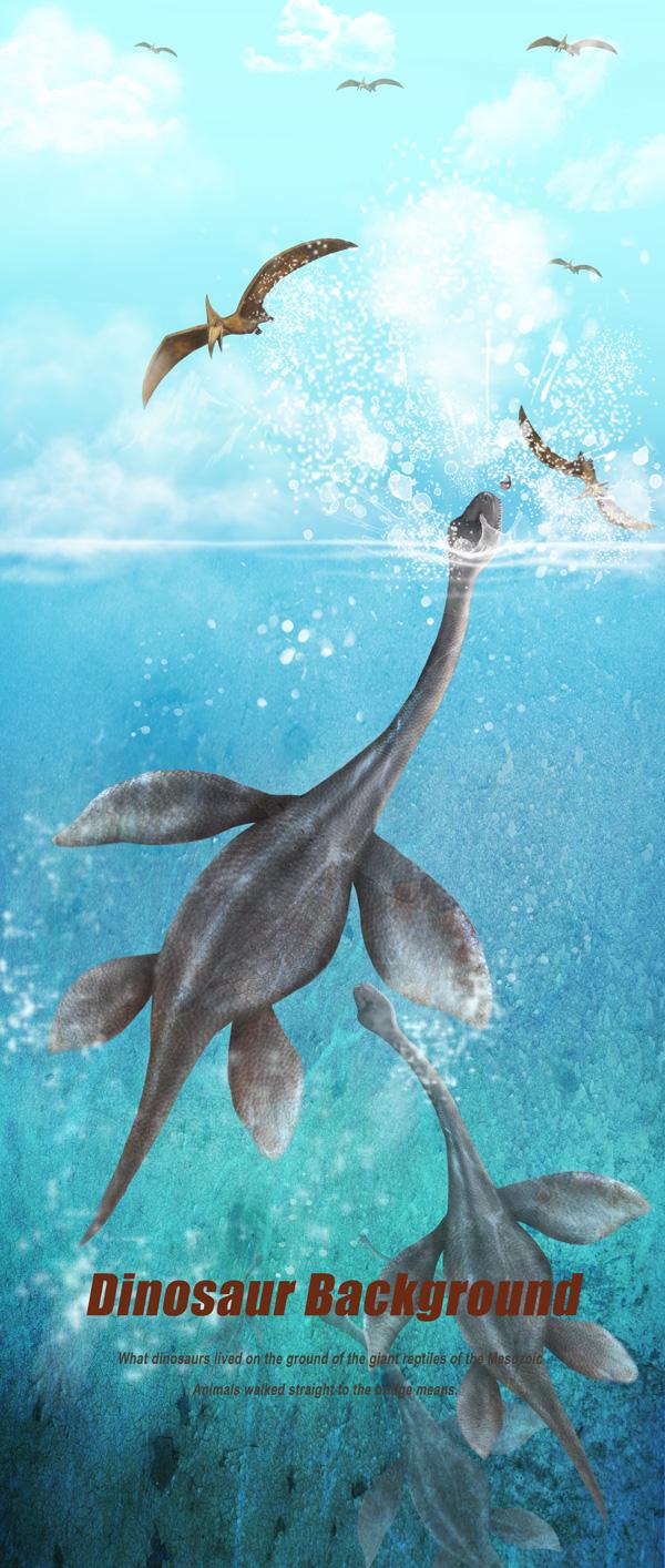 海里游泳的恐龙