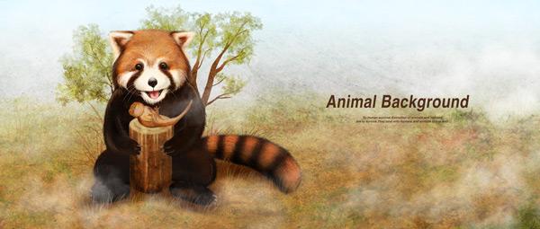 可爱小熊猫背景