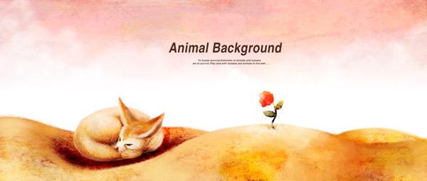 背景,卡通动物插画,可爱插画