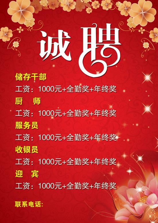 酒店招聘海报_素材中国sccnn.com图片