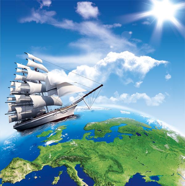 创意设计,商务,领航,创意,扬帆,起航,企业宣传,海报,帆船,地球,板块