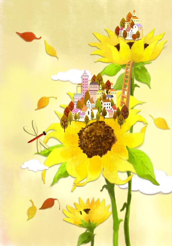 可爱房子带花简笔画