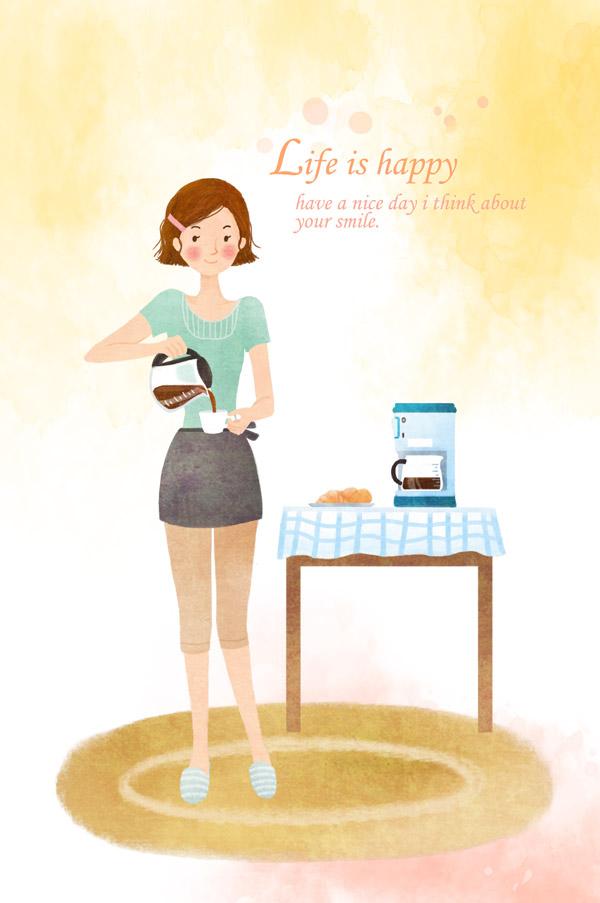 插画,咖啡,手绘,可爱