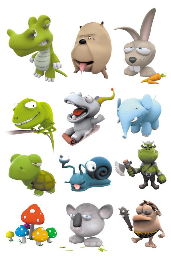 卡通小动物集合psd分层素材