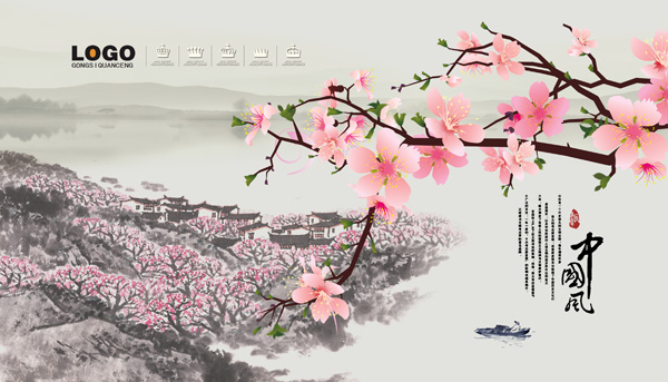 桃花图片,桃花,中国风,国画,传统,桃花沟,传统,手绘,毛笔字,小船,分层
