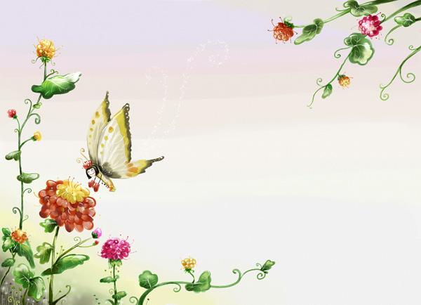 水彩手绘春天小清新