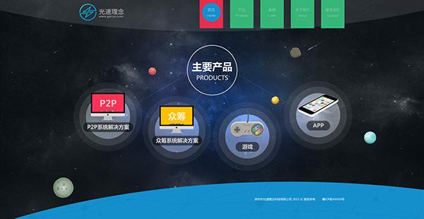 系统网站首页psd分层素材,光速理念,网站设计素材,网站模板,星空背景图片