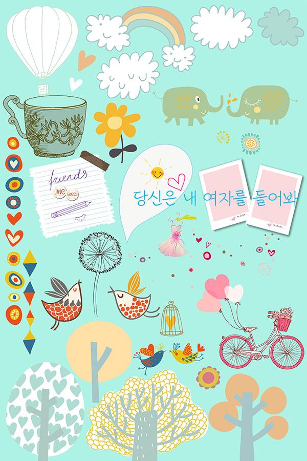 点 关键词: 卡通涂鸦相册元素psd分层素材,热气球,彩虹,卡通小树,可爱