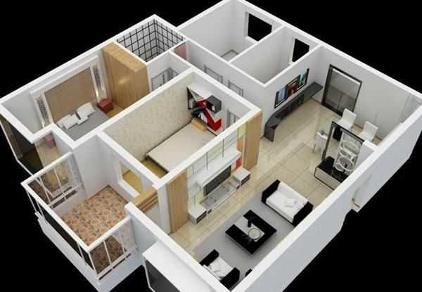 样板套房模型,样板房,整体套房,套房,室内装饰,套房俯视图,俯视,套间