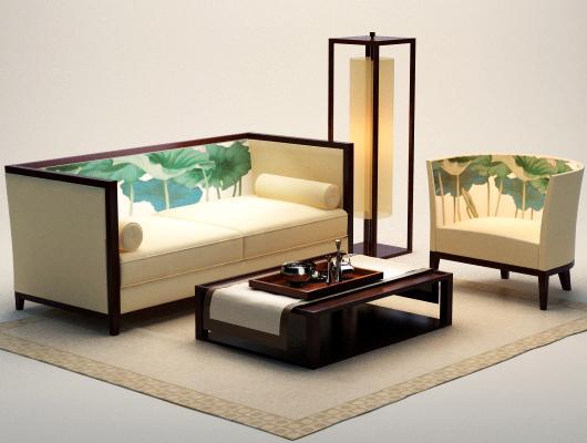 茶几,荷花,日本风,沙发,沙发,茶几,新中式沙发,新中式沙发3d模型,荷花