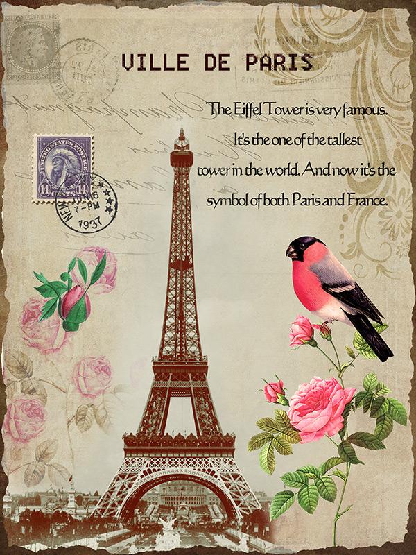 复古风格埃菲尔铁塔和鸟psd分层素材,复古画报,明信片模板,风景