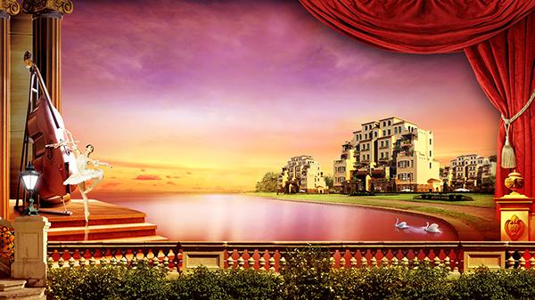 尊贵地产海报,红色幕布,紫色天空,芭蕾舞者,高端房产广告,湖水,欧式