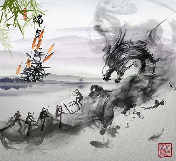 端午节图片,端午节,赛龙舟,水墨,端午,五月五,端阳节,龙舟,龙头,中国