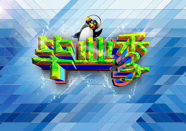 促销,活动,艺术字,绿色,字体,企鹅,创意,格子,背景,宣传,海报设计