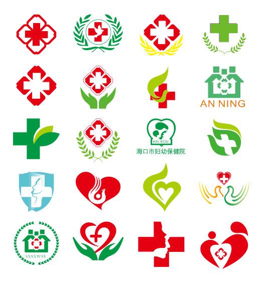 医疗行业图标psd分层素材,红十字,医院图标,妇幼保健院logo,医院标志