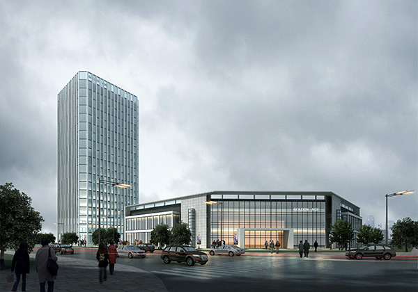 楼景观设计效果图psd分层素材下载,商务写字楼,写字楼,商务楼,办公楼