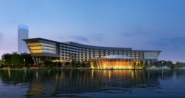 水上建筑设计模板PSD分层素材,水面倒影,创意建筑设计效果图,建筑夜景效果图,艺术中心设计效果图