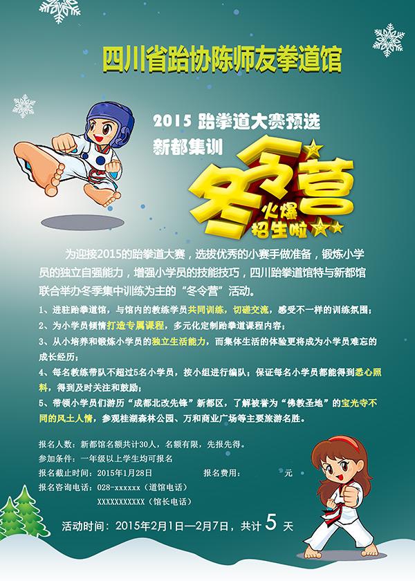 跆拳道馆冬令营海报免费下载