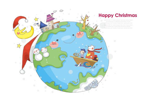 卡通地球圣诞节主题插画