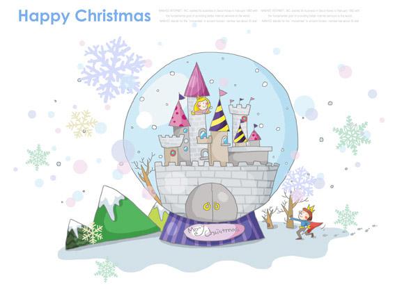 圣诞节,卡通,插画,插图,绘画,城堡,王冠,皇冠,王子,树木,雪花,水晶球