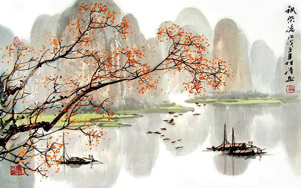 新中式卧室背景墙_桂林山水水墨画_素材中国sccnn.com