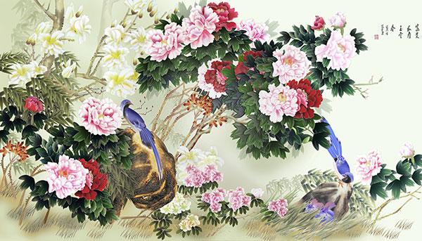 牡丹喜鹊图工笔画