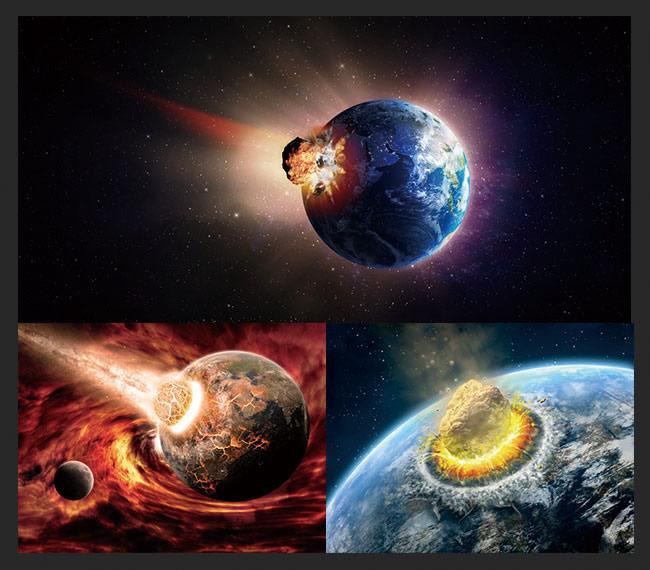 陨石撞击地球图片