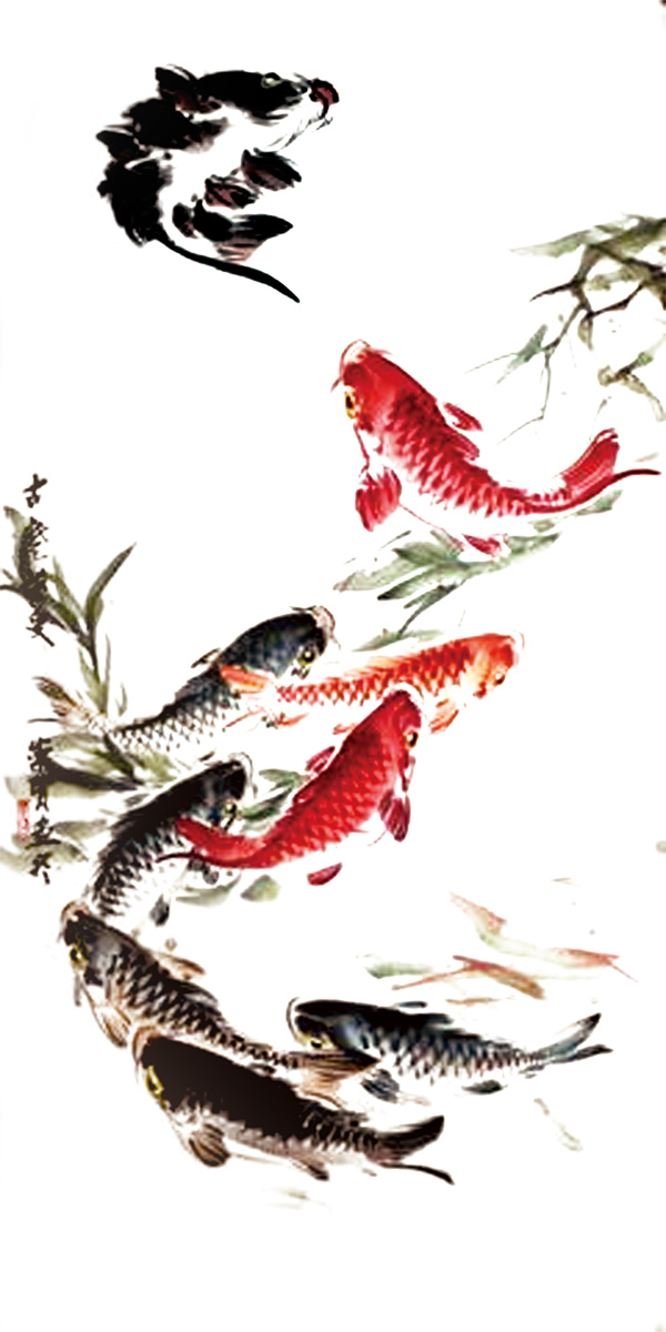 素材分类: 绘画艺术所需点数: 0 点 关键词: 国画鲤鱼psd分层素材