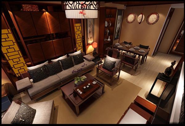 中式复古客厅模型:
