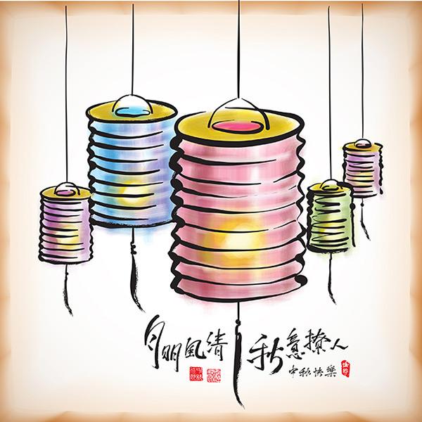 中秋节灯笼海报