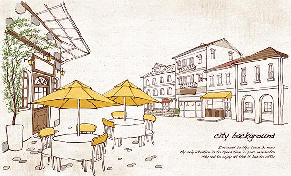 手绘街头咖啡馆插画,简约插画